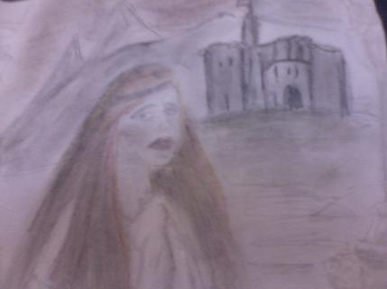 Worried Looking woman at Warkworth Castle By Alex H Parker