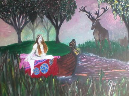 Lady Of Shallot Finds Stag up her Canal By Alex H Parker